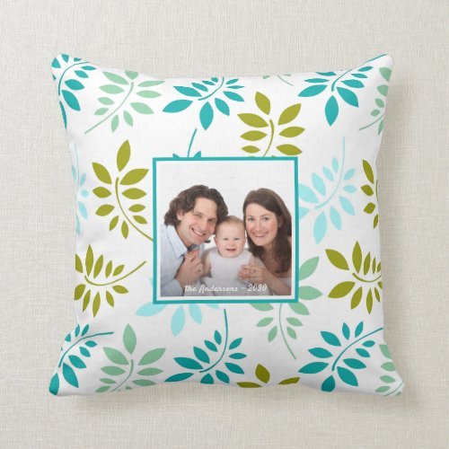Photo with Name Botanical Leaf Pattern Throw Pillow