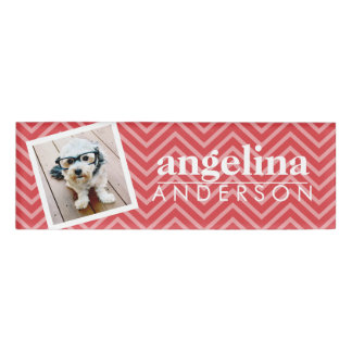 Photo with Red Chevron Pattern and Custom Name Name Tag
