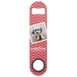 Photo with Red Chevron Pattern Custom Name Bar Key