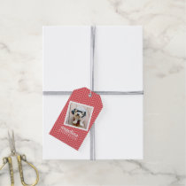 Photo with Red Chevron Pattern Custom Name Gift Tags