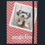 """Photo with Red Chevron Pattern Custom Name iPad Pro 12.9&quot; Case<br><div class=""""desc"""">A preppy pattern with bold stripes and a first and last name. If your art still needs to be adjusted,  click on the Customize This button. This will take you to a design area where you can move things around and even change fonts!</div>"""