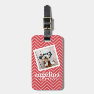 Photo with Red Chevron Pattern Custom Name Luggage Tag
