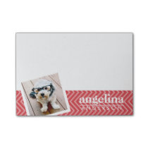 Photo with Red Chevron Pattern Custom Name Post-it Notes