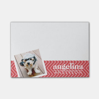 Photo with Red Chevron Pattern Custom Name Post-it® Notes