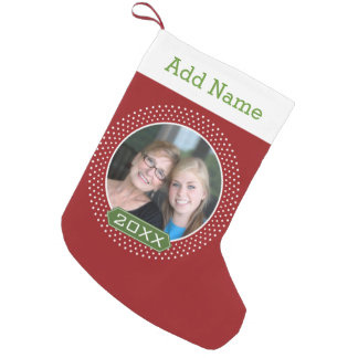 Photo with Red Polka Dot Frame and Custom Year Small Christmas Stocking