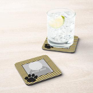 Photo with Tiger Paw Print - Black Gold Stripes Beverage Coaster