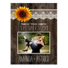 Photo Wood Sunflower Wedding Save The Date Cards Postcard
