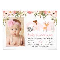 Photo Woodland Animals 1st Birthday Invitation