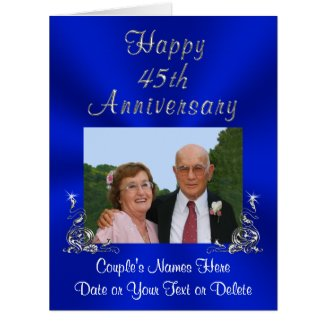 PHOTO, Your TEXT Sapphire Wedding Anniversary Card