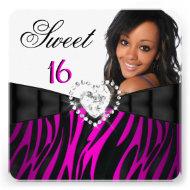 Photo Zebra Pink Silver Sweet 16 Sixteen Birthday Personalized Invitations