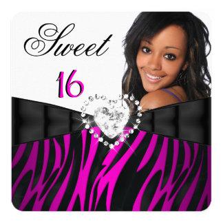 Photo Zebra Pink Silver Sweet 16 Sixteen Birthday 5.25x5.25 Square Paper Invitation Card