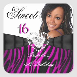 Photo Zebra Pink Silver Sweet 16 Sixteen Birthday Square Sticker