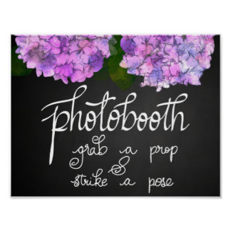 Photobooth Chalkboard Wedding Hydrangea Floral Poster
