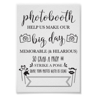 Photobooth Hashtag Wedding Party Sign-5x7 Poster