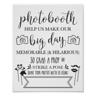 Photobooth Hashtag Wedding Party Sign 8x10