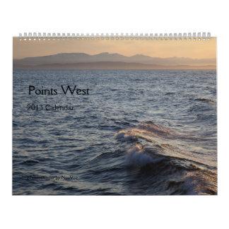 Photocalendar del oeste de los puntos calendarios de pared