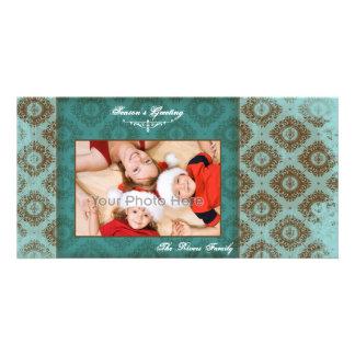 Photocard azul del navidad del vintage tarjeta personal con foto