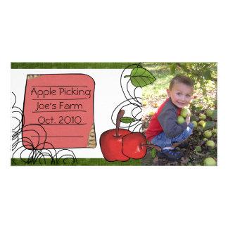 photocard de la cosecha de la manzana tarjeta personal con foto