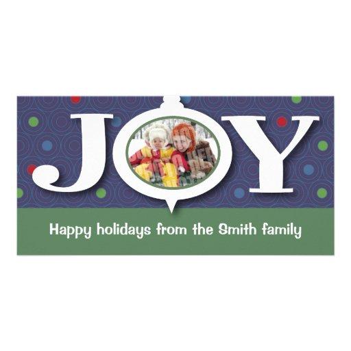 Photocard del azul de la alegría del día de fiesta tarjeta fotográfica personalizada