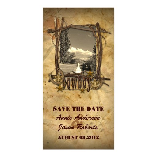 Photocard del boda del vaquero del país del vintag tarjetas con fotos personalizadas