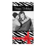 Photocard del navidad del estampado de zebra tarjetas fotográficas