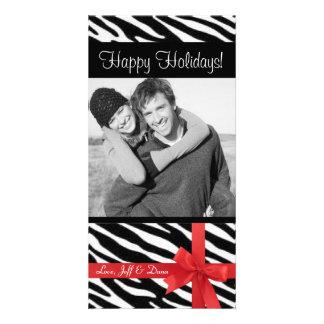 Photocard del navidad del estampado de zebra tarjetas con fotos personalizadas