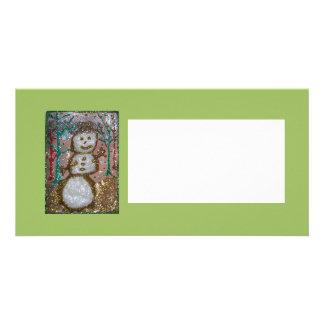 Photocard, Friendly Glitter Snowman Collage Card