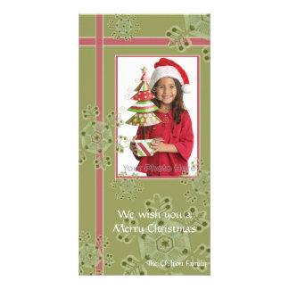 Photocard hoilday del navidad del regalo del copo  tarjetas fotográficas personalizadas