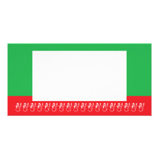 Photocard, Red and Green Snow people Card