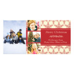 Photocard rojo de las Felices Navidad cuatro de lo Tarjeta Con Foto Personalizada
