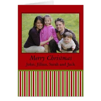 photocard rojo y verde de las rayas tarjeta de felicitación
