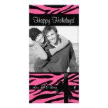 Photocard rosado del estampado de zebra tarjetas personales