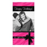 Photocard rosado del navidad del estampado de zebr tarjetas con fotos personalizadas