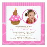 PhotoCupcake Birthday Invitation 4th Birthday Pink