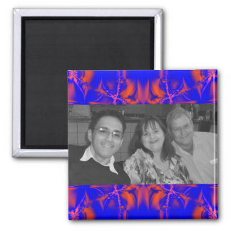 photoframe azul rojo brillante imán cuadrado