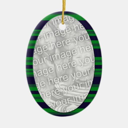 photoframe azulverde adorno navideño ovalado de cerámica