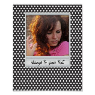 photoframe on white & black polkadot poster