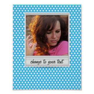 photoframe on white & blue polkadot poster