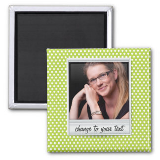 photoframe on white & lime polkadot magnet