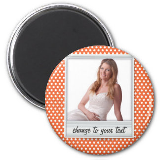 photoframe on white & orange polkadot magnet