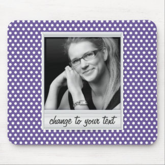 photoframe on white & purple polkadot mouse pad