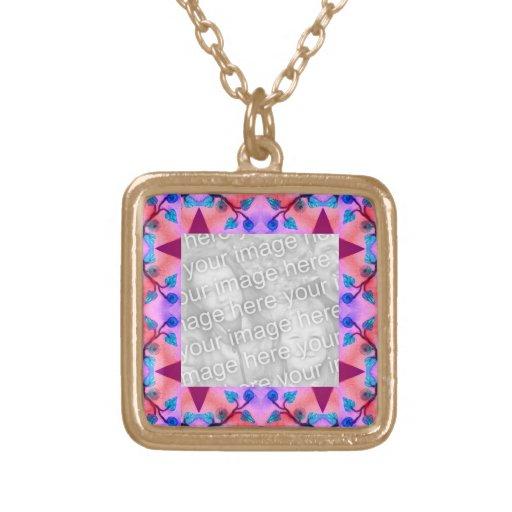 Photoframe rosado bonito del extracto de la flor colgante cuadrado