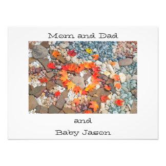 Photograhy art prints Mom Dad and Baby Name Heart Photo Print
