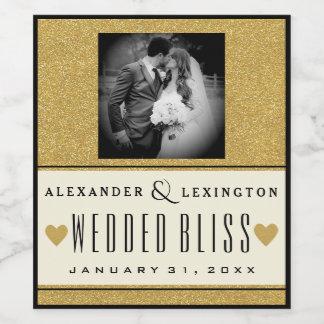 Photograph Elegant Gold Glitter and Black Wedding Wine Label