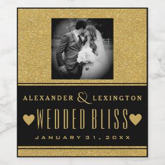 Photograph Gold Glitter and Black Elegant Wedding Wine Label