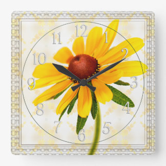 Photograph of A Black-Eyed Susan Blossom Square Wall Clock