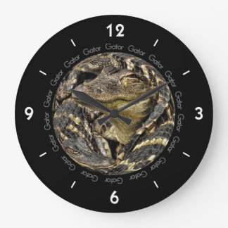 Photograph of a Pod of Baby Gators Large Clock