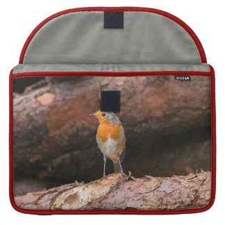 Photograph of a robin sitting on logs MacBook pro sleeve