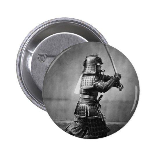 Photograph of a Samurai C. 1860 Button