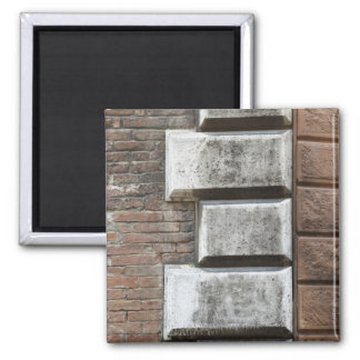 Photograph of an old brick wall in Siena Italy. 2 Inch Square Magnet